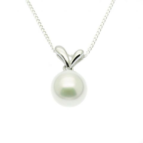 Single Pearl Pendant Necklace 9MM Round Pearl Sterling Silver